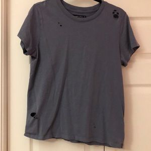 Abercrombie & Fitch Dark Navy/Grey Distressed Top